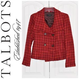 Talbots Red Tweed Pea Coat Size 2